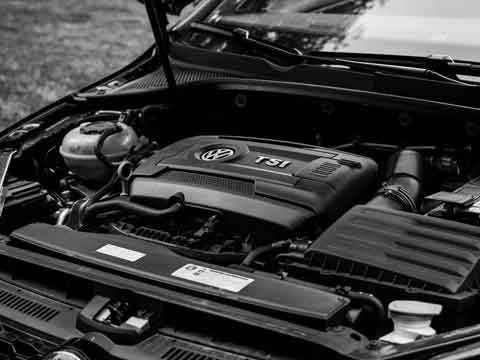 engine bay in car