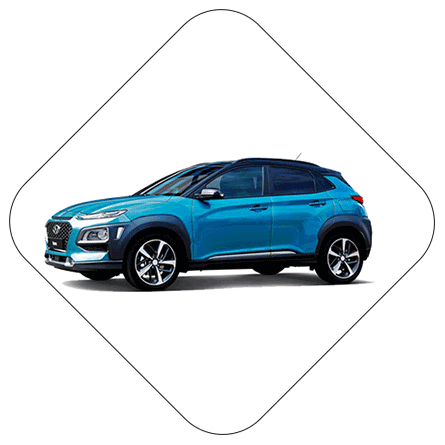 hyundai car on white background rotated frame